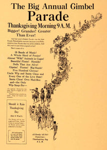 1926 Ad Annual Gimbel Parade Thanksgiving Wip-Snap Marching Band TOYS7