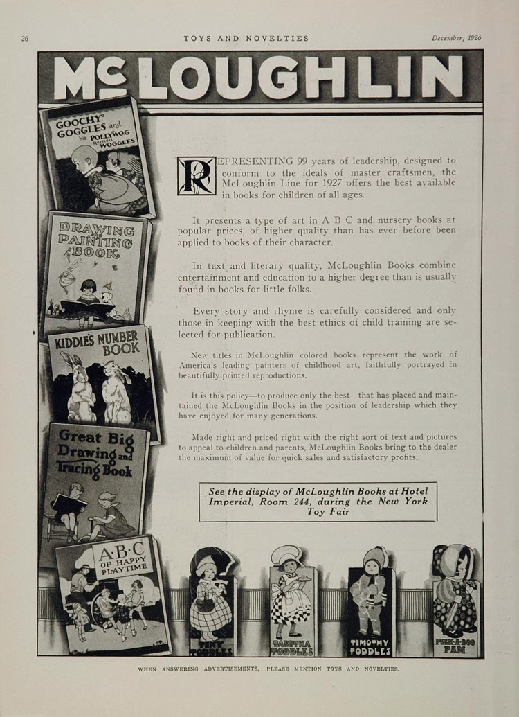 1926 Ad McLoughlin Classic Picture Books Children ABC - ORIGINAL TOYS7