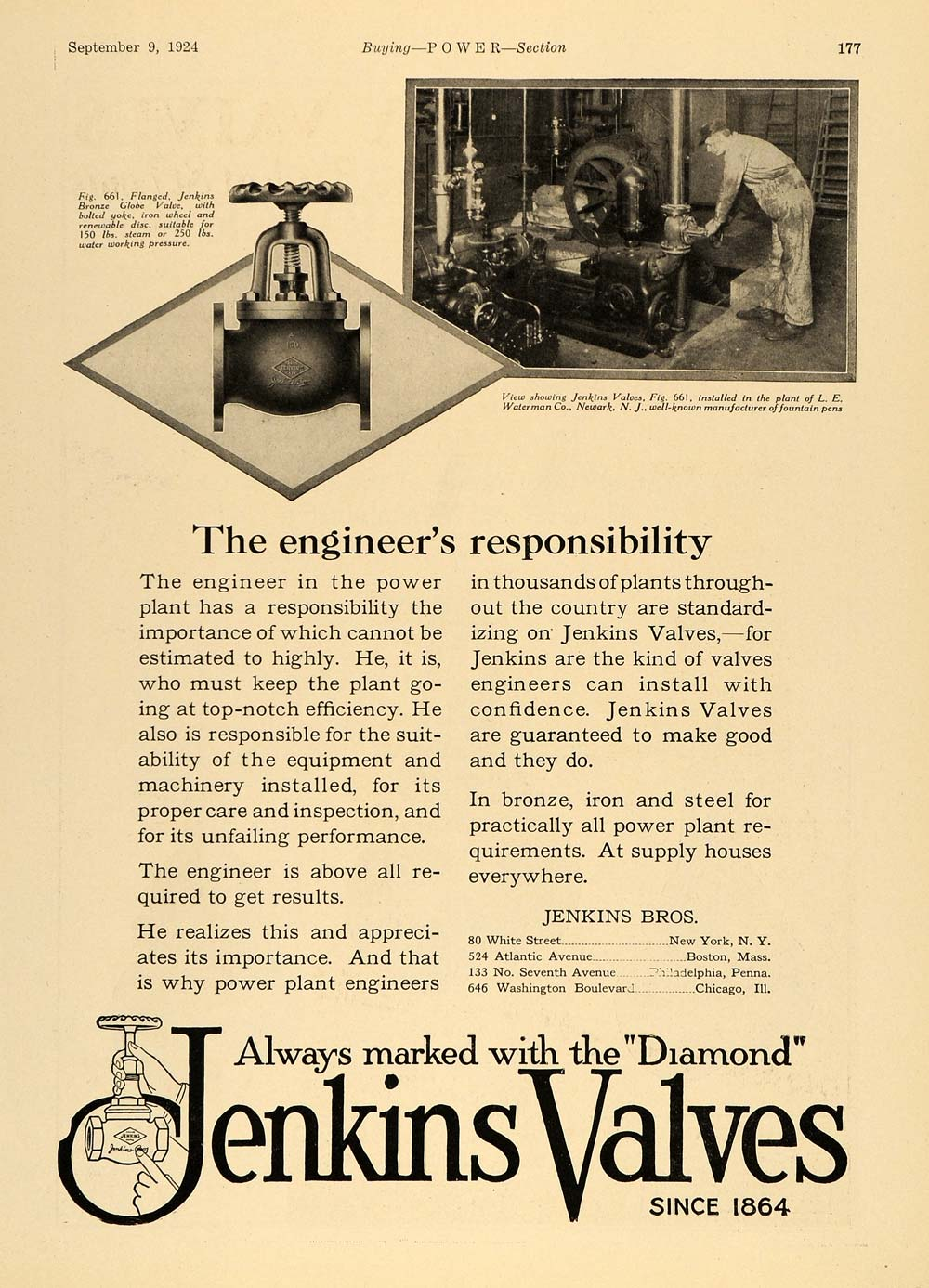 1924 Ad Jenkins Valves Flanged Power Plant Iron Diamond - ORIGINAL TPM1