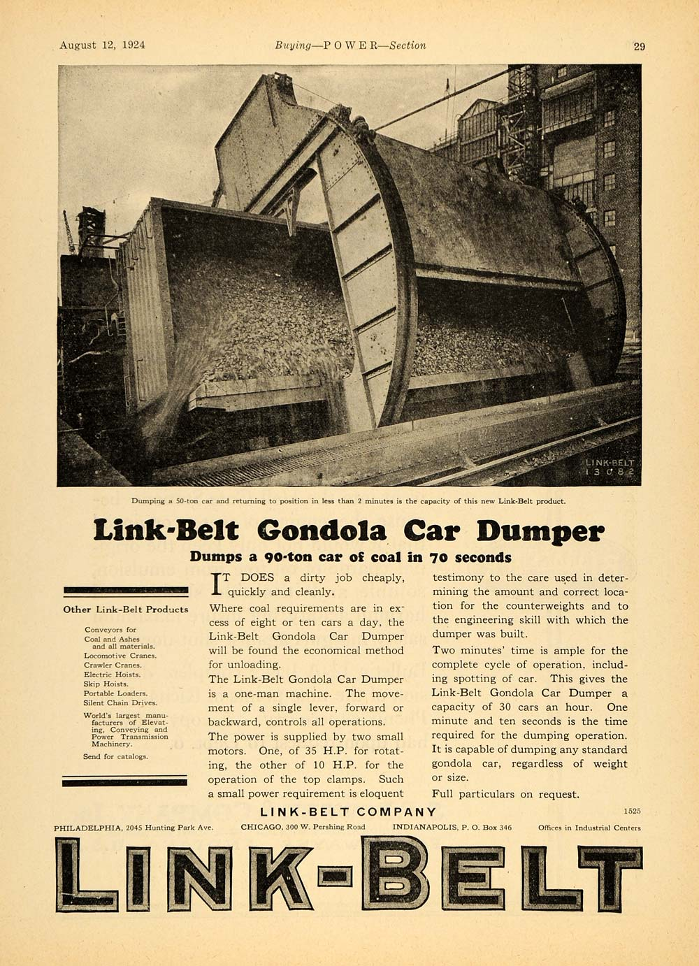 1924 Ad Link Belt Gondola Car Dumper Unloading Coal - ORIGINAL ADVERTISING TPM1