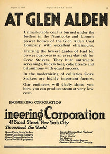 1924 Ad Coxe Stoker Combustion Engineering Boiler B & W - ORIGINAL TPM1