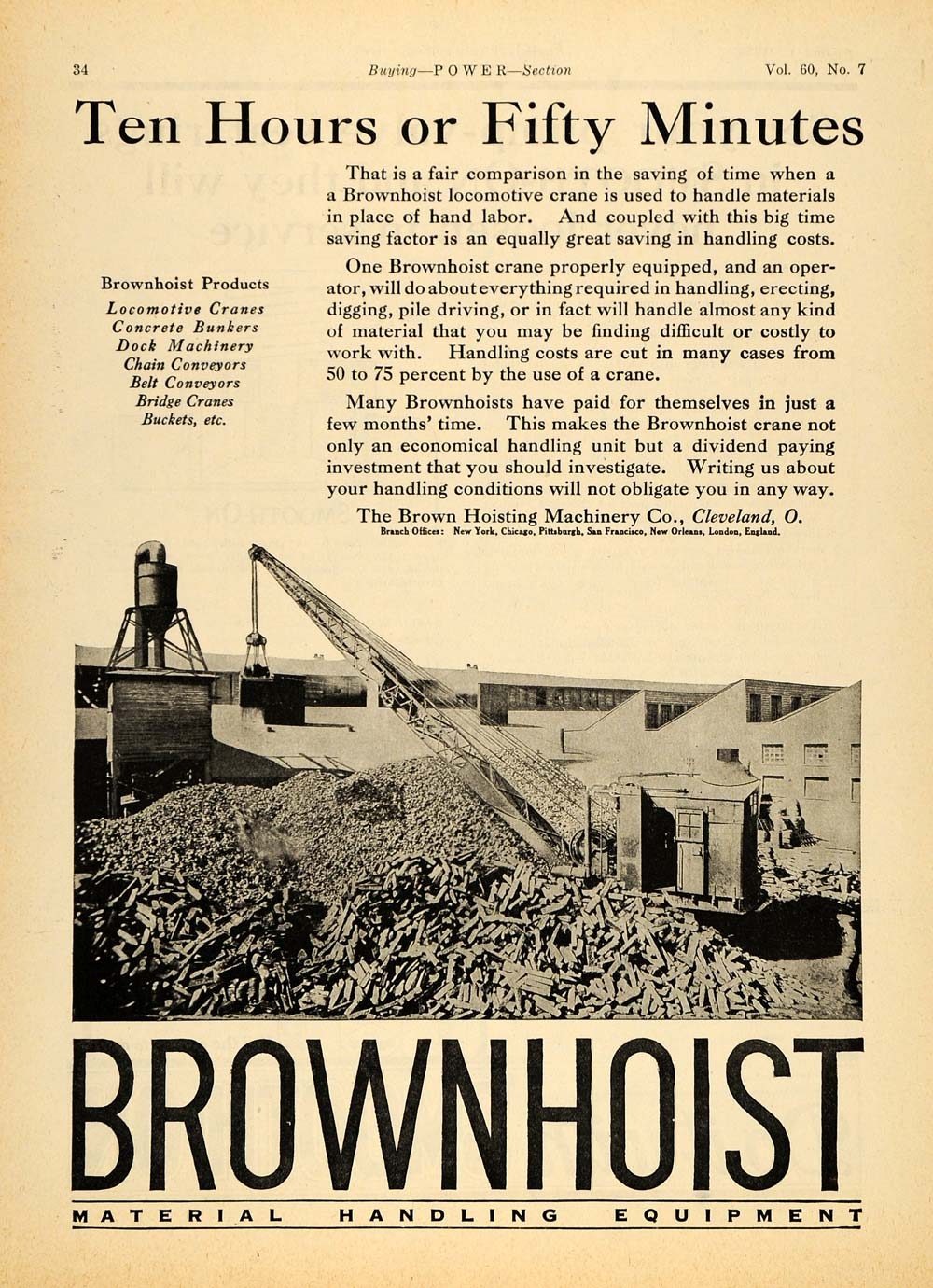 1924 Ad Brown Hoist Material Handling Locomotive Crane - ORIGINAL TPM1
