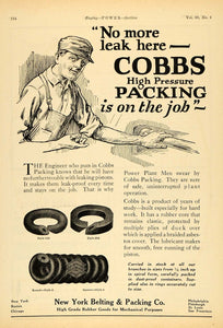 1924 Ad New York Belting Packing Pistons Cobbs Rubber - ORIGINAL TPM1