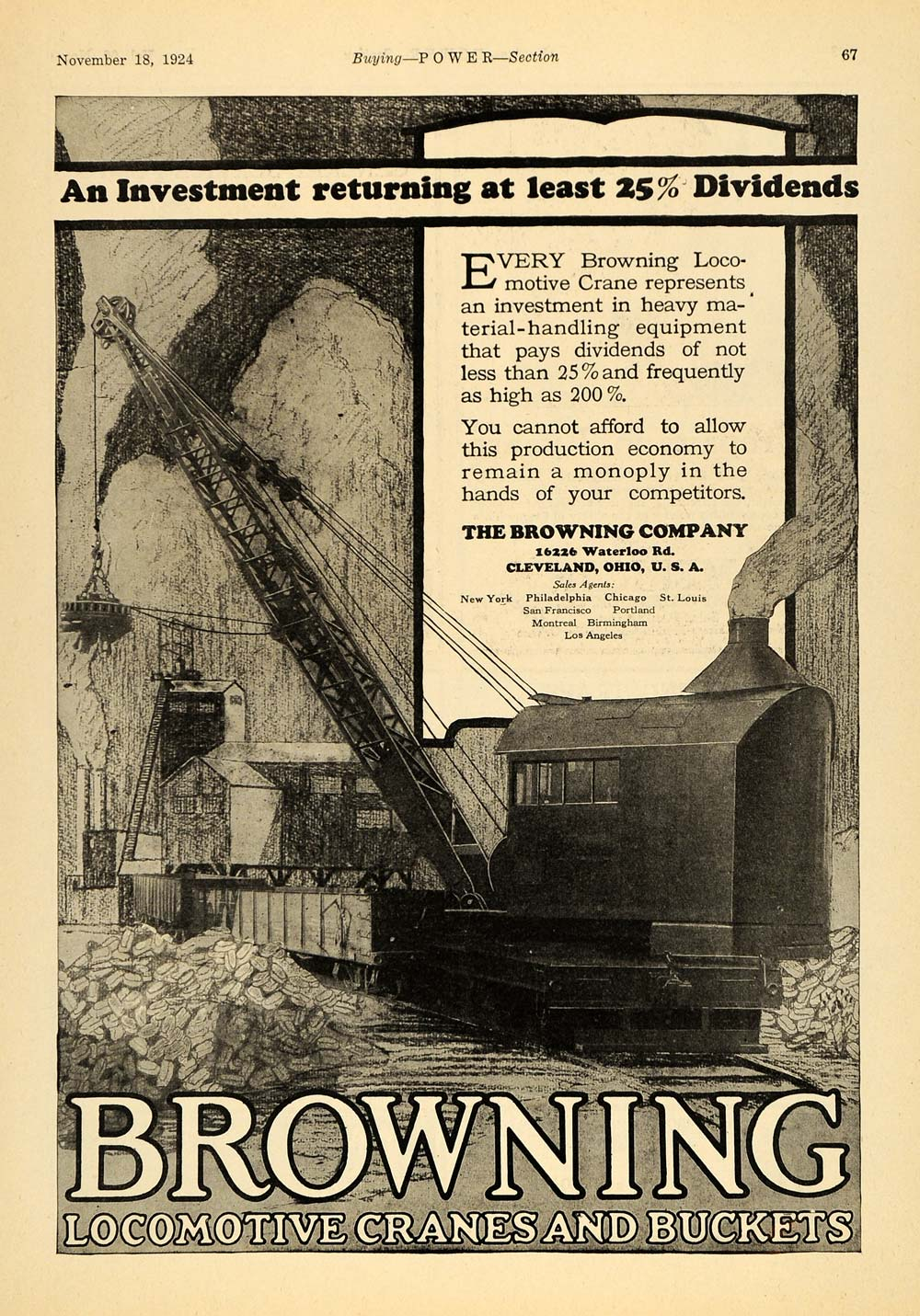 1924 Ad Browning Locomotive Cranes Buckets Cleveland - ORIGINAL ADVERTISING TPM1