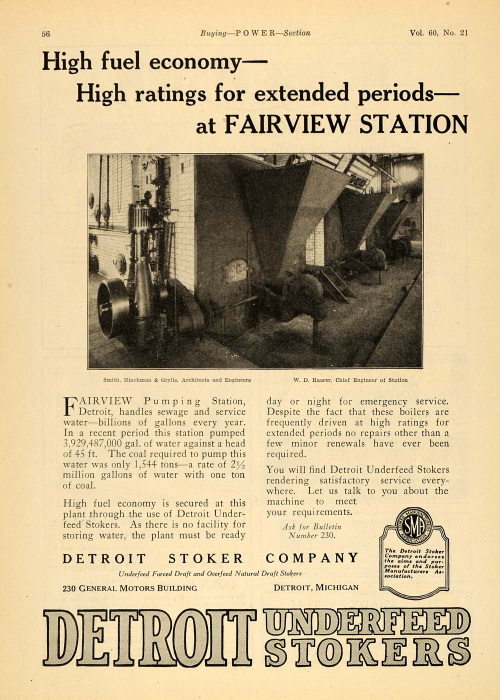 1924 Ad Detroit Underfeed Stokers Fairview Station - ORIGINAL ADVERTISING TPM1