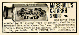 1895 Antique Advertising Dr Marshall's Catarrh Snuff F. C. Keith Medicine TPM2
