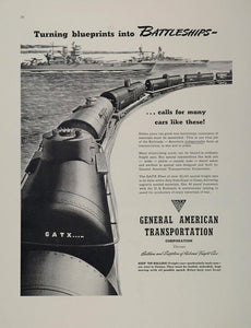 1942 Ad WWII GATX Freight Cars Train General American Transportation Battleship