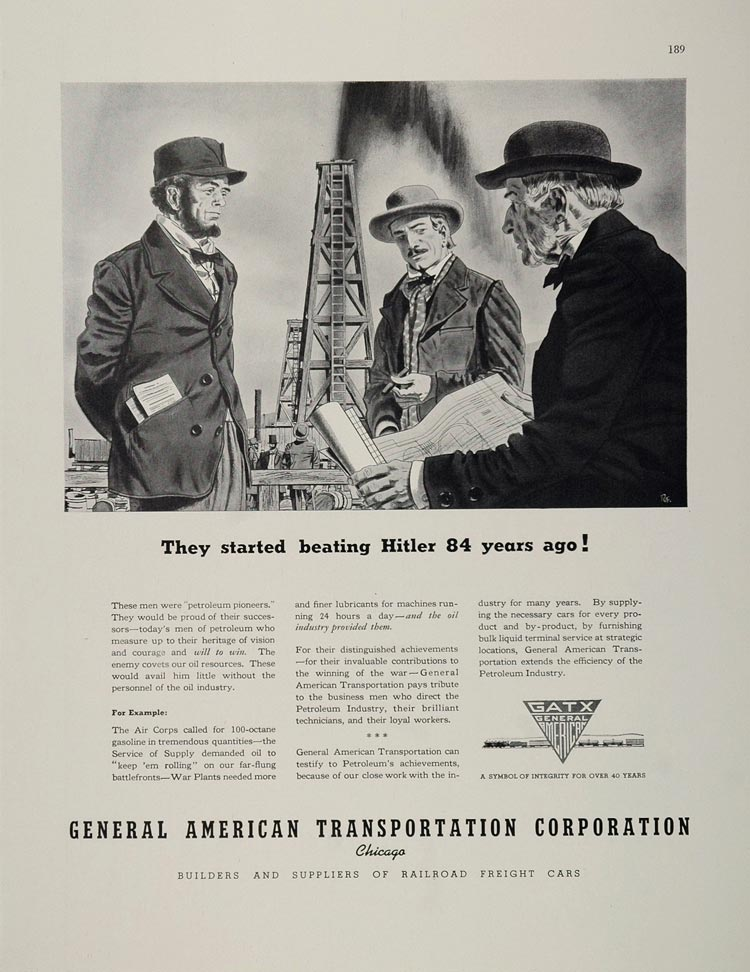 1943 Ad WWII GATX General American Transportation Oil Well Petroleum Freight Car