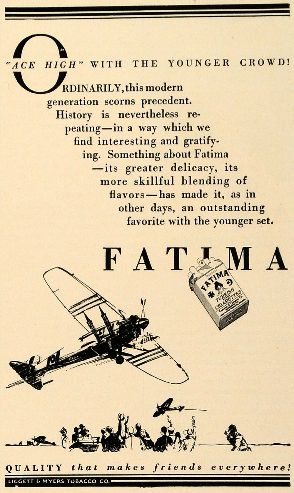 1927 Ad Fatima Cigarettes Ace High Aviation Airplanes - ORIGINAL TRV1