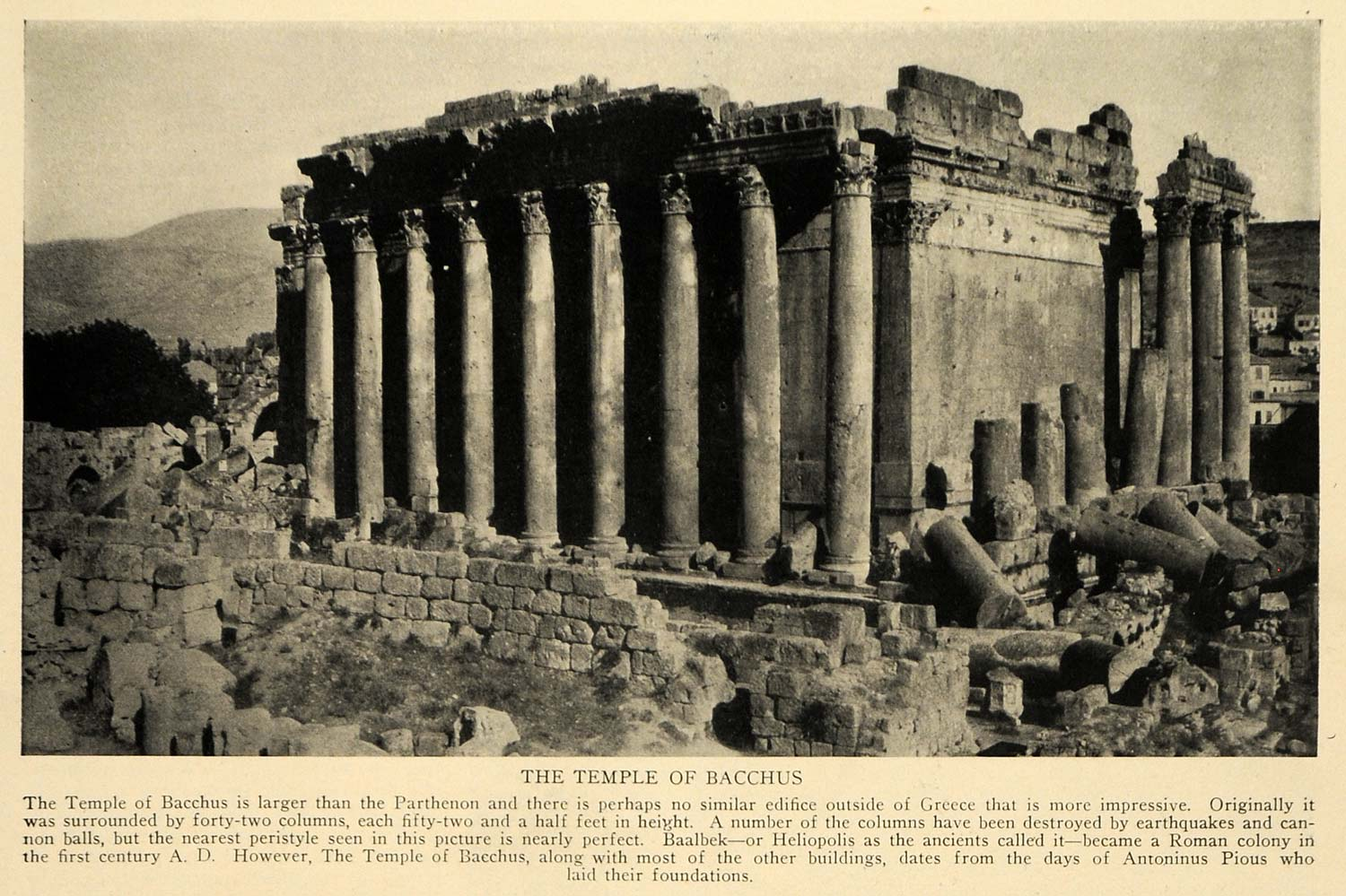 1928 Print Greece Ancient Ruins Bacchus Temple Baalbek ORIGINAL HISTORIC TRV1