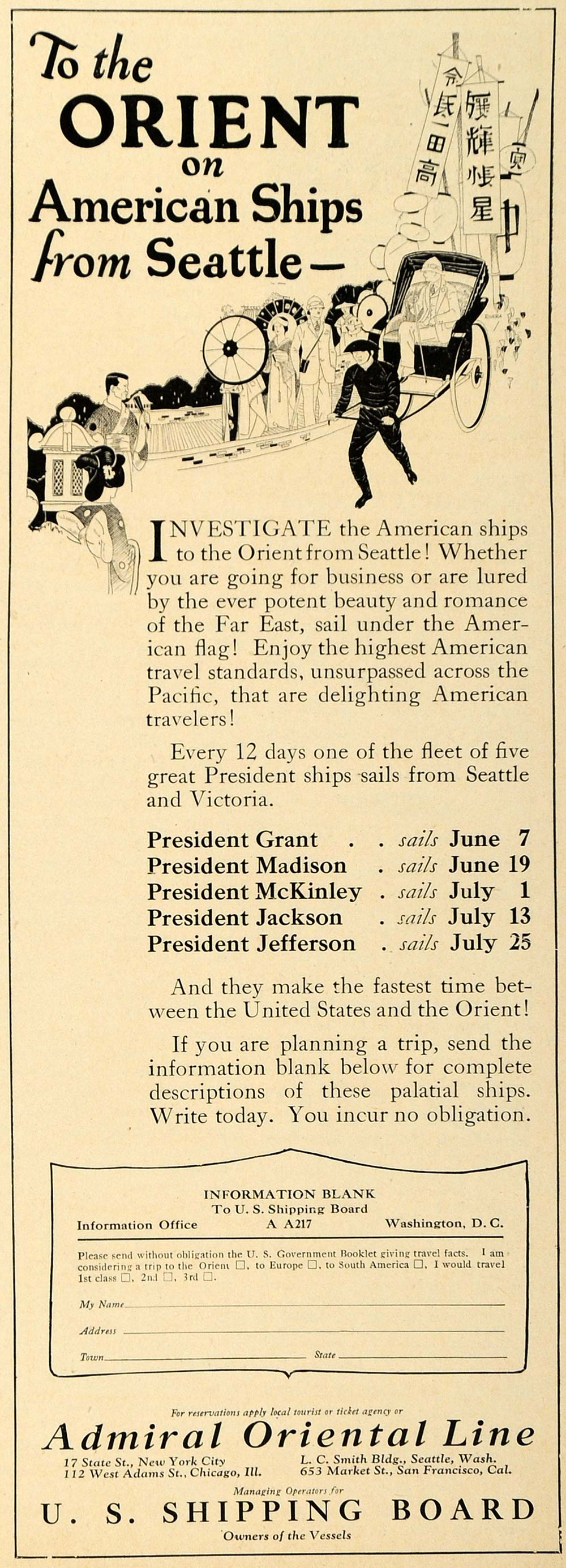 1923 Ad Admiral Orient Steamship Line East Sea Travel - ORIGINAL TRV1