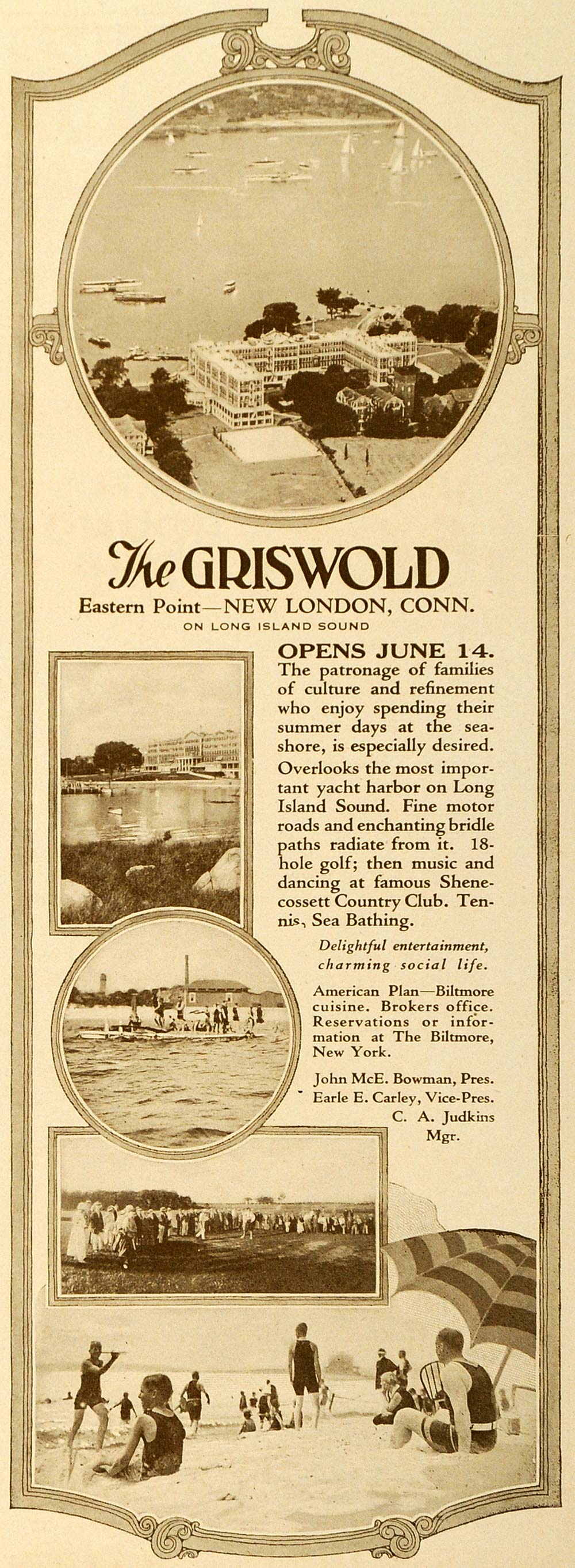 1923 Ad Griswold Hotel Resort New London Connecticut - ORIGINAL ADVERTISING TRV1