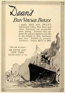 1921 Ad Dean's Bon Voyage Candy Pastries Cruise Ship - ORIGINAL ADVERTISING TRV1
