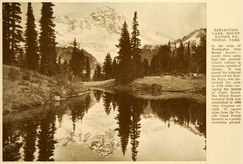 1923 Print Reflection Lake Mount Rainier Volcano Navy - ORIGINAL HISTORIC TRV1