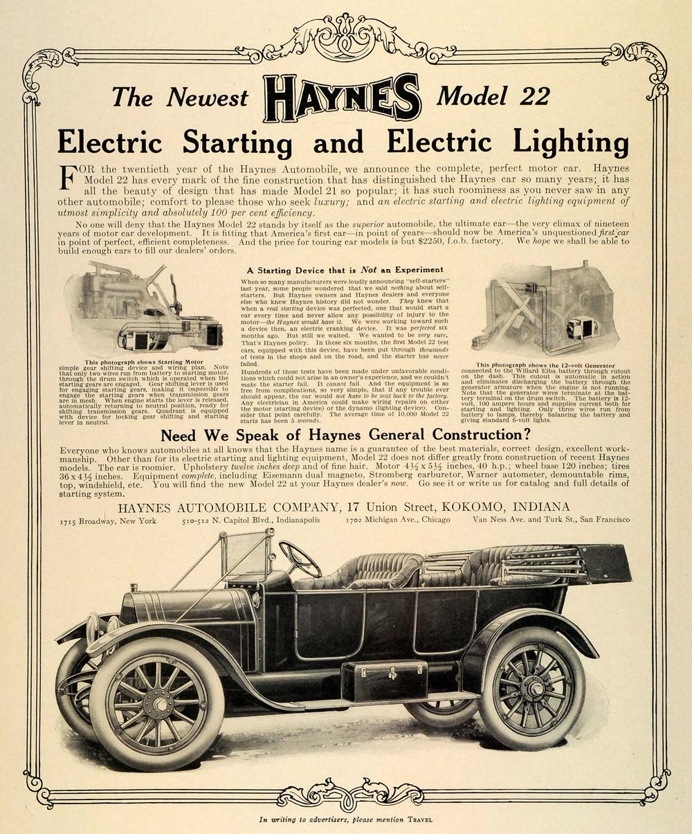 1912 Ad Antique Haynes Model 22 Automobile Electric Ignition Lighting TRV1  sc 1 st  Period Paper & 1912 Ad Antique Haynes Model 22 Automobile Electric Ignition ...