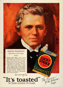 1928 Ad Lucky Strike Cigarettes Pack Tobacco Stage Actor David Warfield TRV1