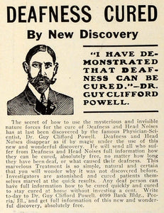 1909 Ad Deafness Head Noise Cured Dr Guy Clifford Powell Medical Quackery TRV1