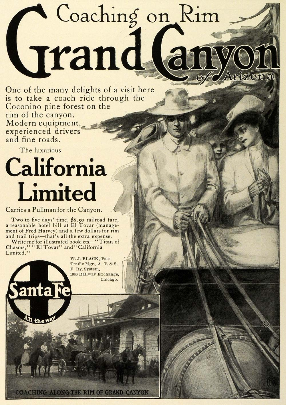 1909 Ad Santa Fe Railway Grand Canyon California Limited Horse Drawn TRV1