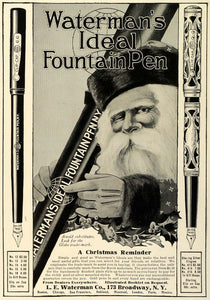 1909 Ad Santa Claus Christmas Gift Waterman Ideal Fountain Pen Writing TRV1