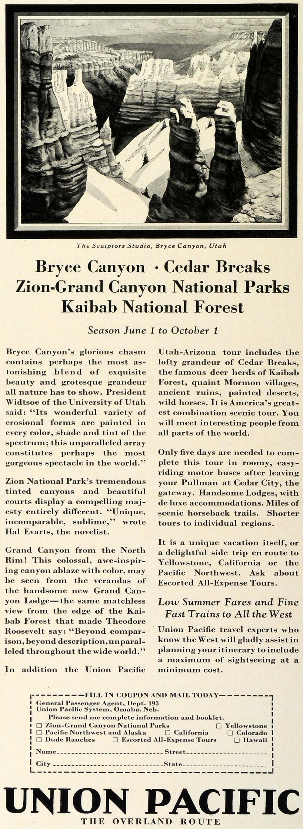 1928 Ad Union Pacific Railway Overland Route Zion National Park Grand TRV1