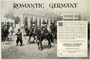 1928 Ad Romantic Historic Germany Tourism Medieval Military Calvary TRV1