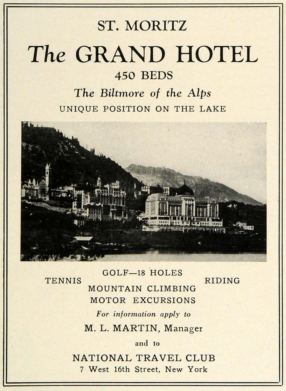 1927 Ad St. Moritz Grand Hotel Switzerland Alps Biltmore National Travel TRV1