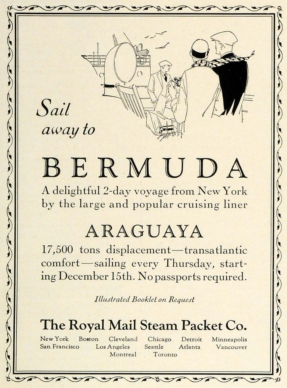 1927 Ad Royal Mail Steam Packet Cruise Line Ships Araguaya Bermuda TRV1
