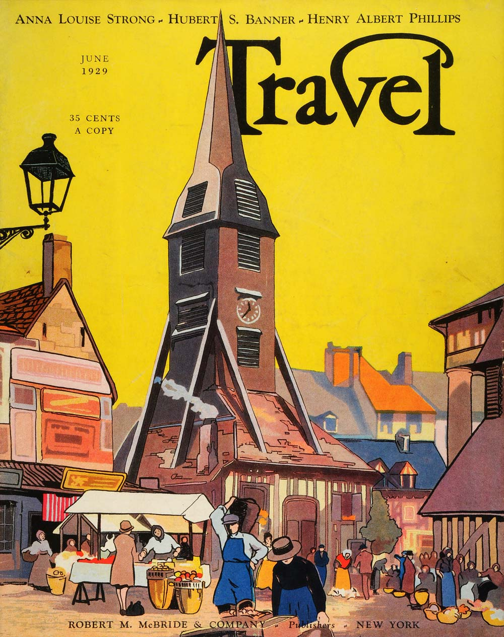 1929 Cover Travel Normany France Village Church Steeple Architecture TRV1