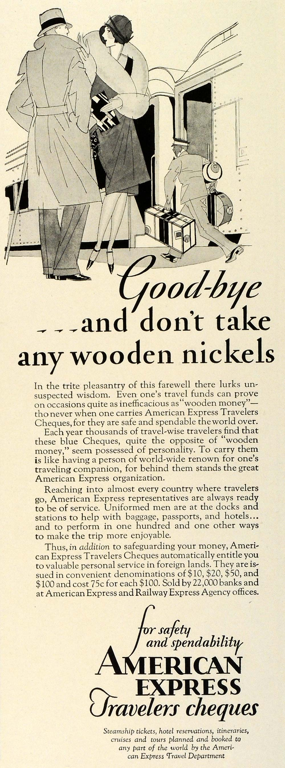 1929 Ad American Express Travelers Cheques Checks Money Wooden Nickels TRV1