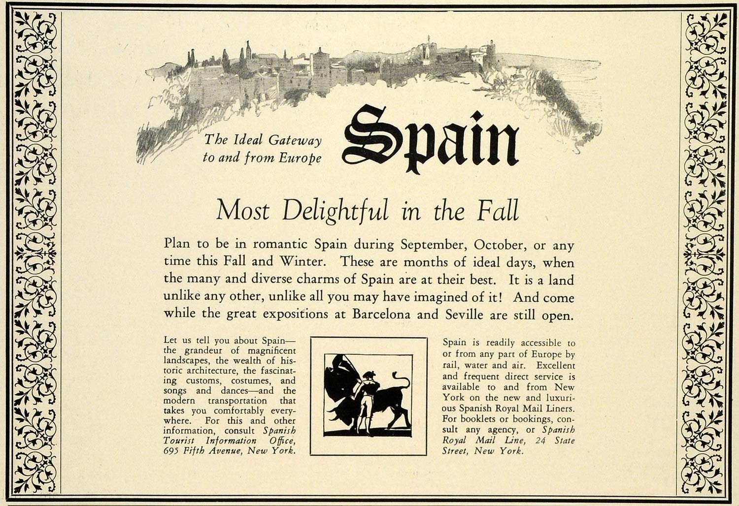 1929 Ad Spanish Royal Mail Cruise Liners Spain Tourism Europe Barcelona TRV1