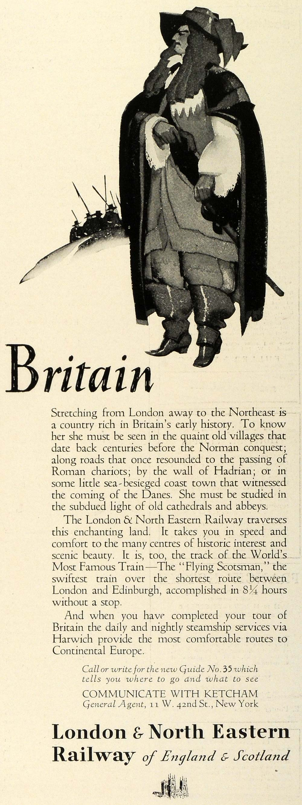 1930 Ad London North Eastern Railway England Scotland Britain Musketeer TRV1