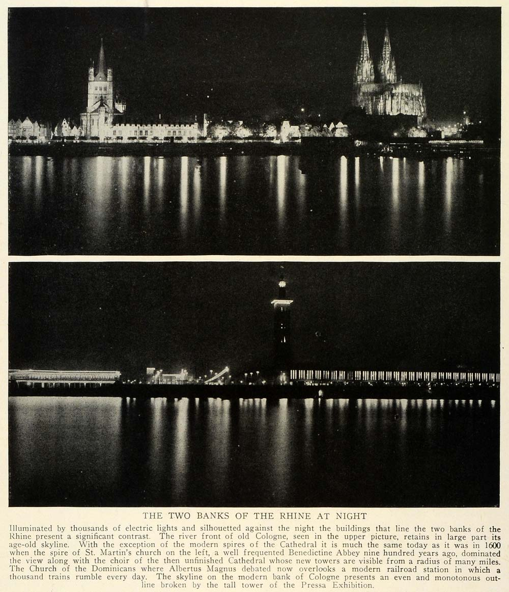 1929 Two Banks Rhine Night Picture Skyline St Martins Church Pressa TRV1