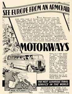 1931 Ad Motorways Pullman Saloon Tour Travel Car Van Vintage Transportation TRV1