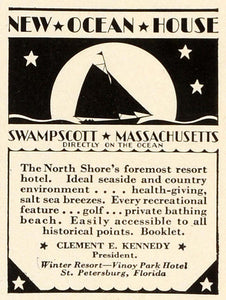 1931 Ad North Shore Hotel Swampscott Massachusetts Lodging Traveling TRV2