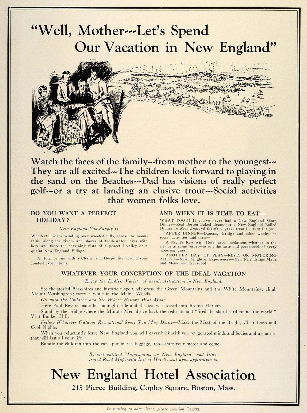 1931 Ad New England Hotel Association Vacation Boston Massachusetts Lodging TRV2