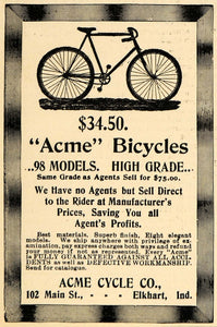 1898 Ad Acme Cycle Company Elkhart Indiana Bicycles - ORIGINAL ADVERTISING TSM1