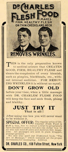 1907 Ad Dr Charles Company Flesh Food Removes Wrinkles - ORIGINAL TSM1