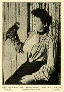 1903 Print Mrs Hope Talking Trilingual Parrot Dewey Bird Phonograph Record TSM1