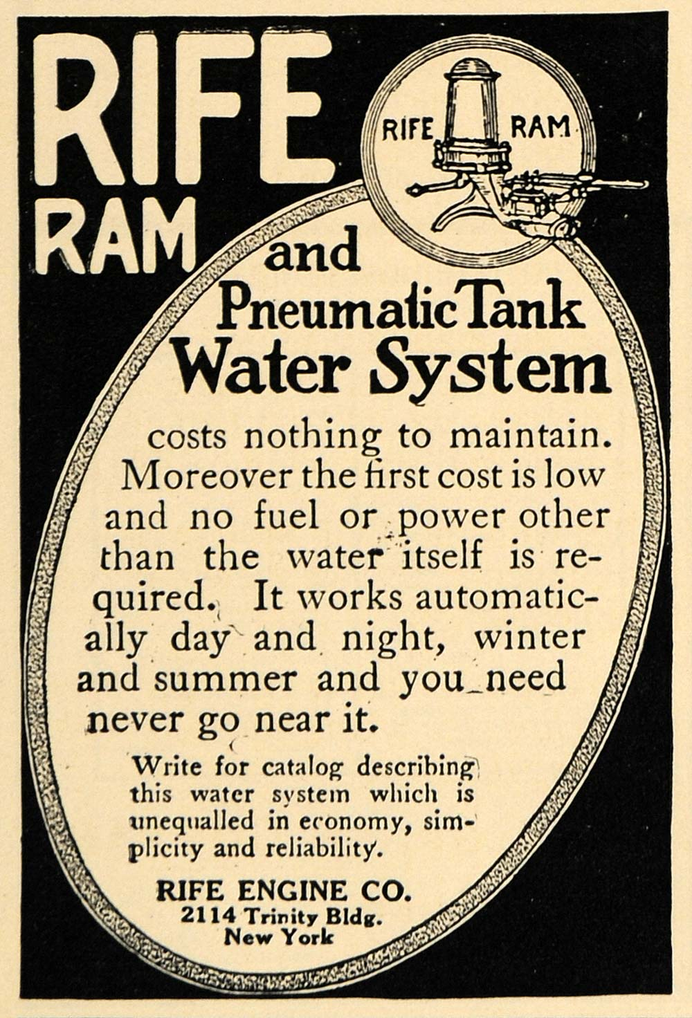 1912 Ad Rife Engine Ram Pneumatic Tank Water System NY - ORIGINAL TW1