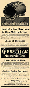 1914 Ad Goodyear Tire Rubber Motorcycle Akron Ohio Road - ORIGINAL TW1