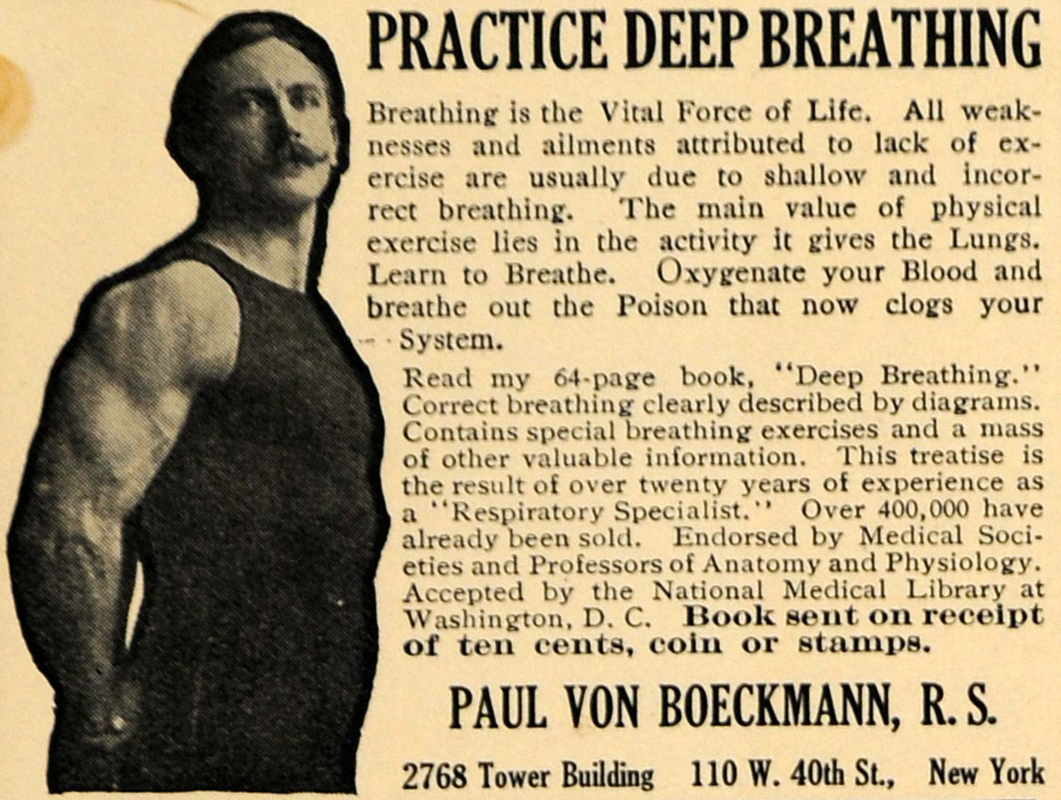 1914 Ad Deep Breathing Method Paul Von Boeckmann Book - ORIGINAL ADVERTISING TW1