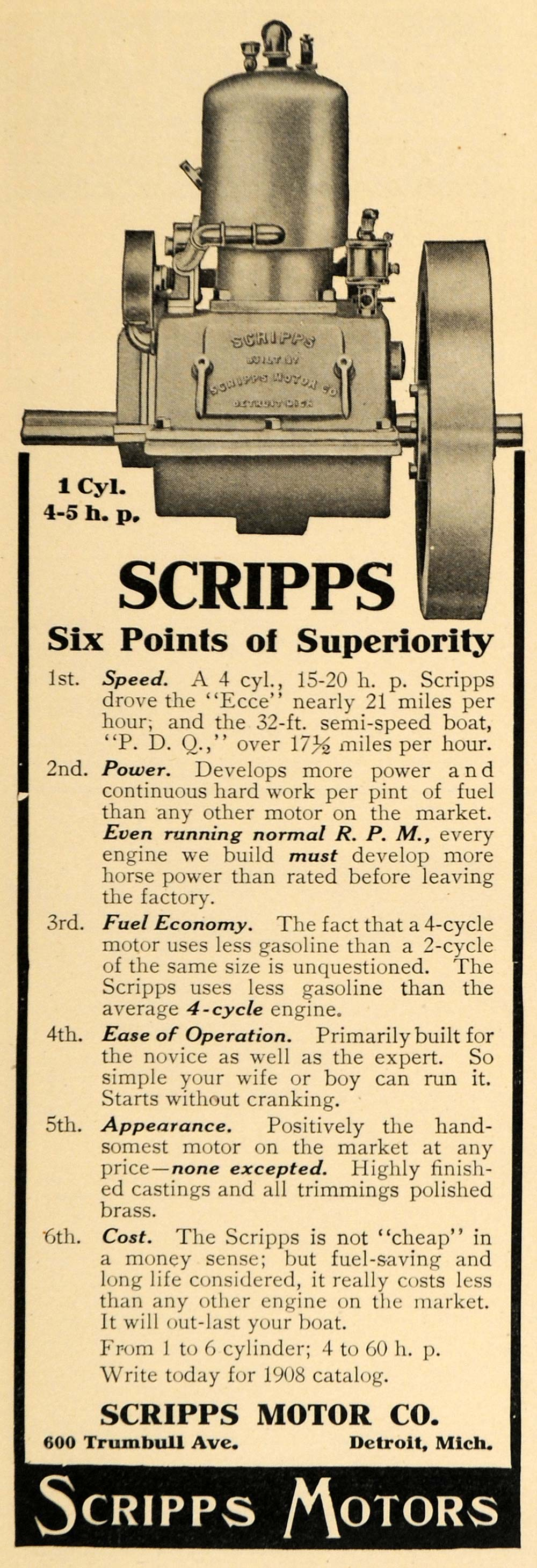 1908 Ad Scripps Motors 4 Cylinder 4-5 HP Engine Detroit - ORIGINAL TW1