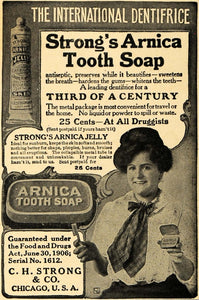 1908 Ad C. H. Strong Arnica Tooth Soap Jelly Hygiene - ORIGINAL ADVERTISING TW1