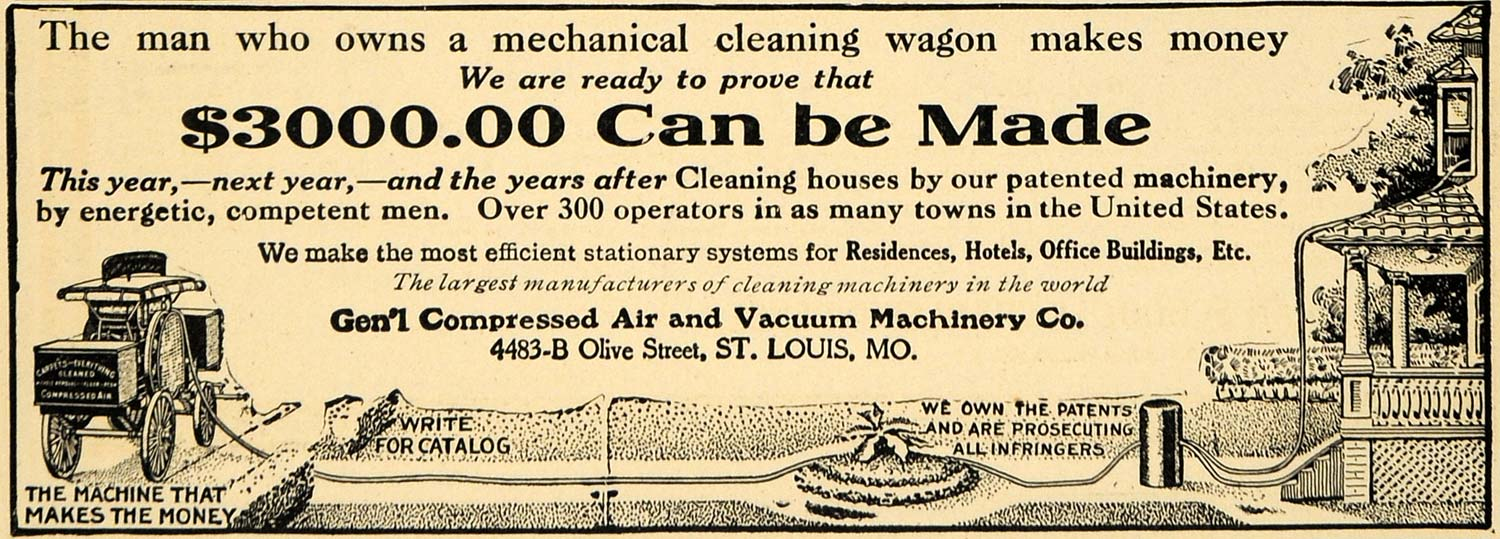 1908 Ad General Compressed Air Machinery Washing Wagon - ORIGINAL TW1