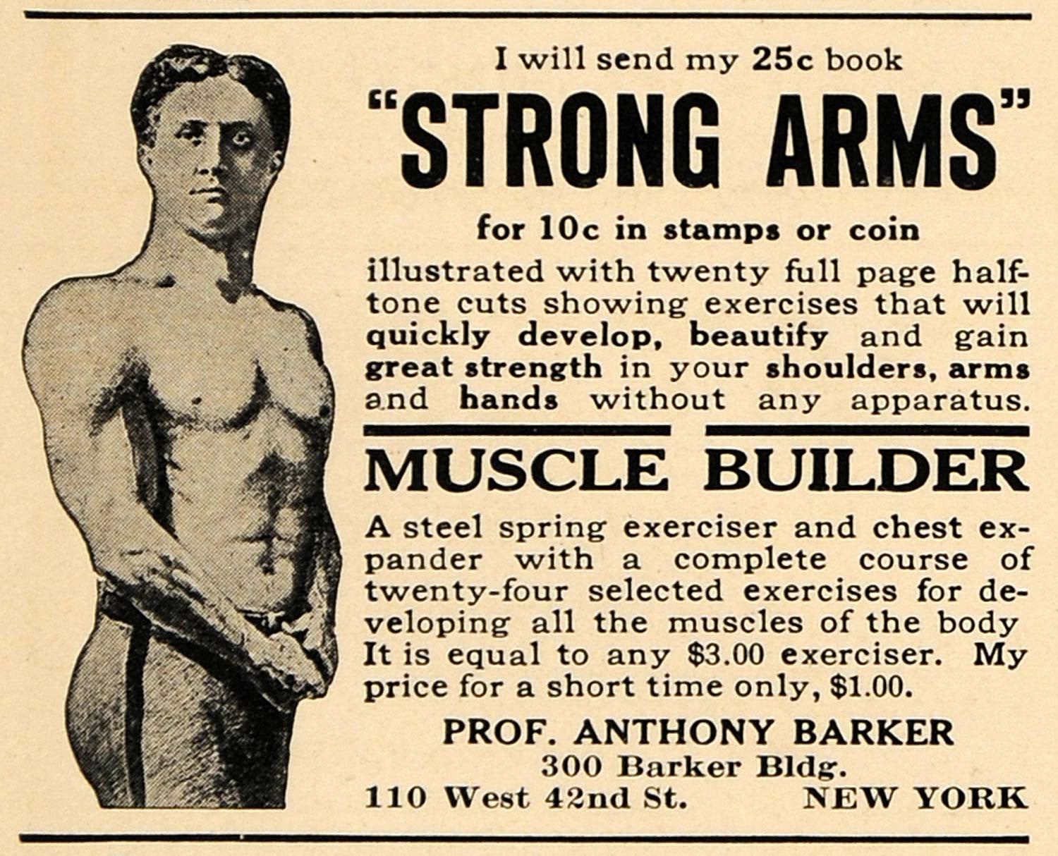 "1914 Ad Professor Anthony Barker's Book ""Strong Arms"" - ORIGINAL ADVERTISING TW1"