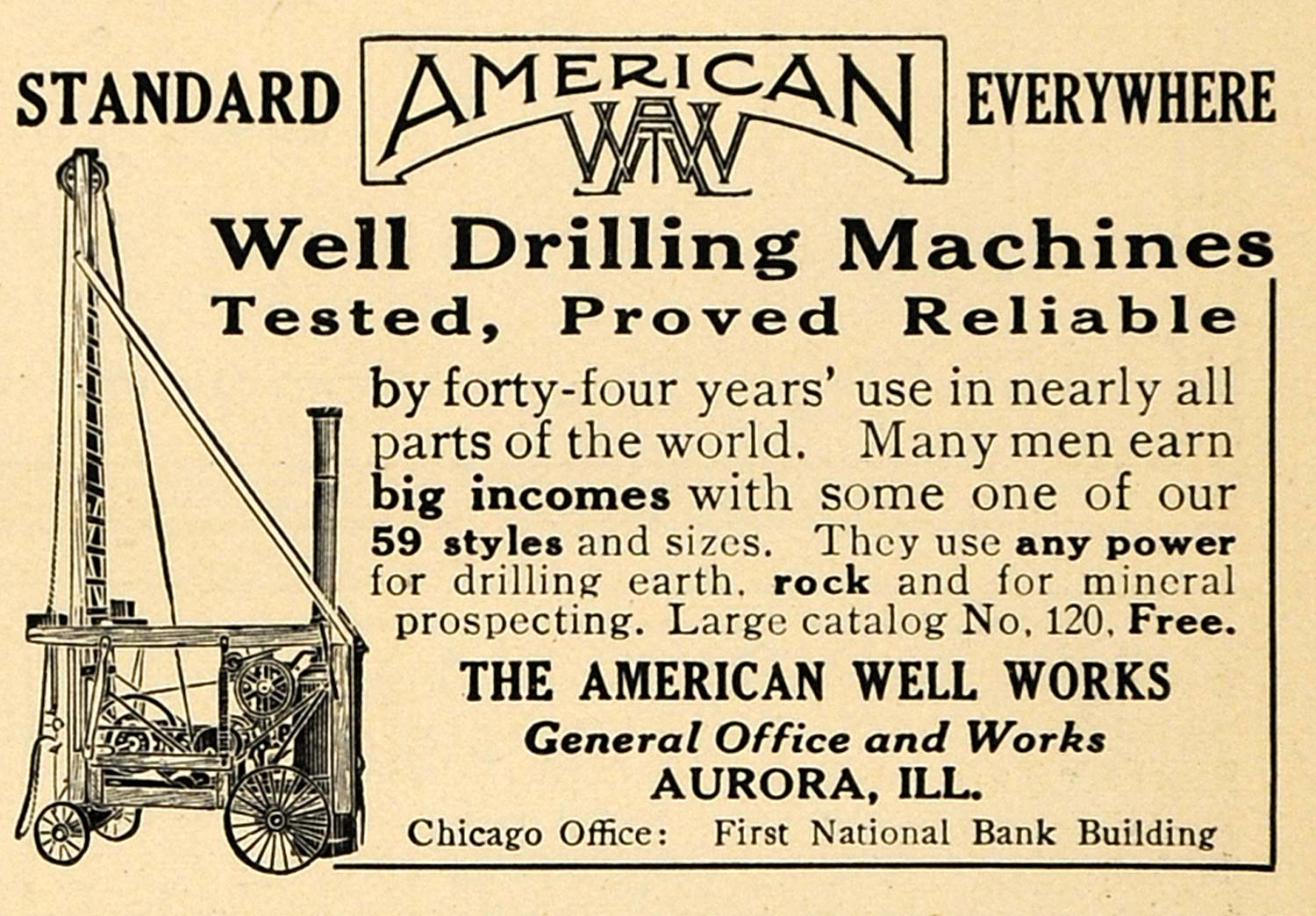 1912 Ad American Well Rock Mineral Drilling Machines - ORIGINAL ADVERTISING  TW1