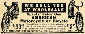 1912 Ad American Motorcycle Wholesale Motorbike Bicycle - ORIGINAL TW1
