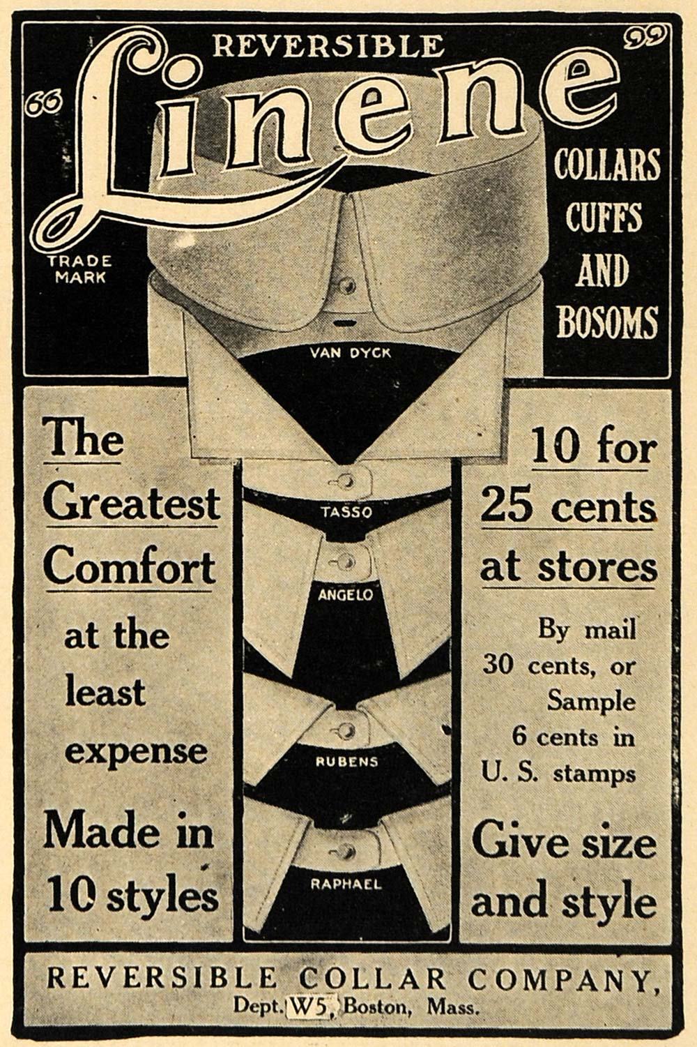 1910 Ad Reversible Linene Shirt Collars Cuffs Bosoms - ORIGINAL ADVERTISING TW1
