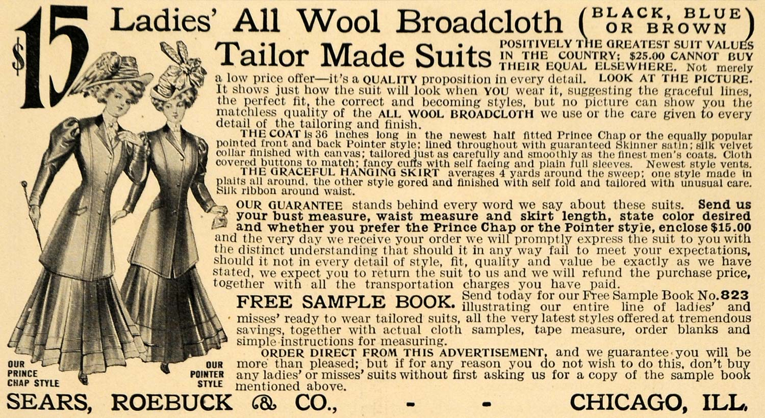 1908 Ad Wool Broadcloth Tailor Made Suits Women Sears - ORIGINAL ADVERTISING TW1