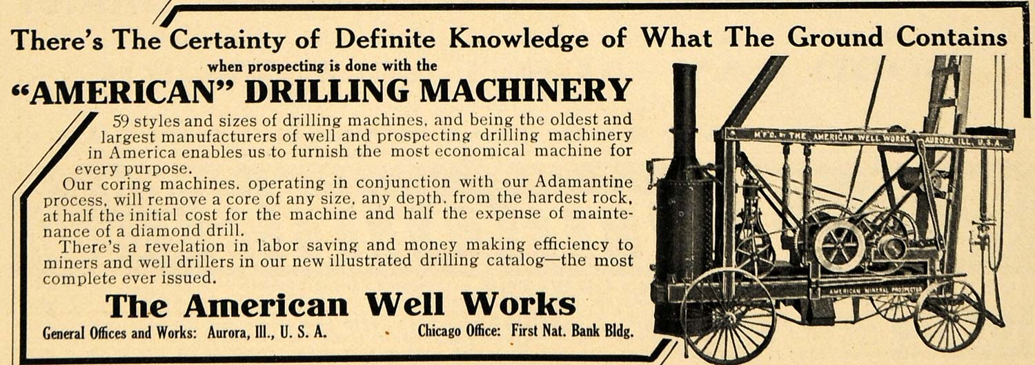 1908 Ad American Drilling Machinery Well Ground Coring - ORIGINAL TW1